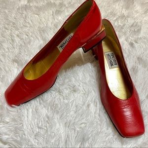 EUC Timothy Hitsman Red Leather Square Heels❤️